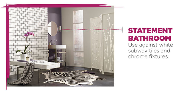 Sherwin-Williams paint color - Exclusive Plum, used in bathroom.