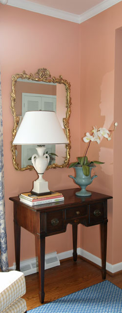 Master bedroom and lamp table and walls painted drawing room wallpaper by Sherwin-Williams