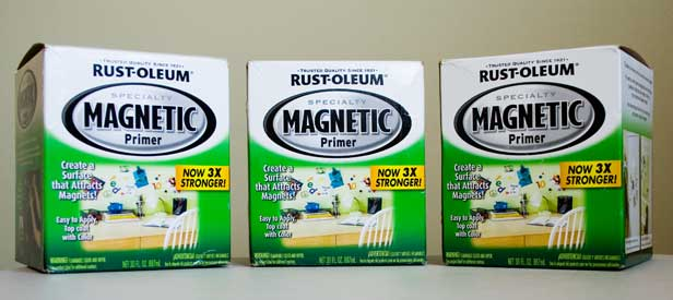 Three cans of Rust-Oleum Magnetic Primer Paint