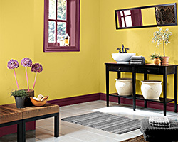 Gold and Burgundy Painted Room Created With Color Visualizer By Sherwin-Williams