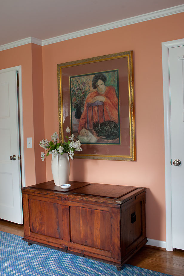 Master Bedroom painted with Sherwin-Williams paint color, Drawing Room Wallpaper, showing how it complements wood.